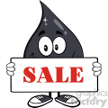 royalty free rf clipart illustration petroleum or oil drop cartoon character holding a sign with text sale vector illustration isolated on white background
