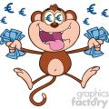 9074 royalty free rf clipart illustration rich monkey cartoon character jumping with cash money and euro eyes vector illustration isolated on white