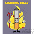devil cigarette cartoon mascot character welcoming and holding a trident over flames and purple halftone with welcome to smoking kills text vector illustration with background gif, png, jpg, eps, svg, pdf