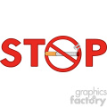 royalty free rf clipart illustration stop smoking sign text with cigarette vector illustration isolated on white background