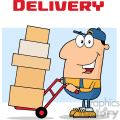royalty free rf clipart illustration delivery man cartoon character using a dolly to move boxes vector illustration with text isolated on white