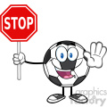 funny soccer ball cartoon mascot character gesturing and holding a stop sign vector illustration isolated on white background gif, png, jpg, eps, svg, pdf