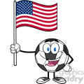 happy soccer ball cartoon mascot character holding a flag of the united states vector illustration isolated on white background