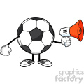 soccer ball faceless cartoon mascot character using a megaphone vector illustration isolated on white background gif, png, jpg, eps, svg, pdf