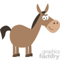 smiling donkey cartoon character vector illustration flat design style isolated on white
