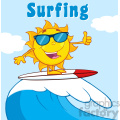 surfer sun cartoon mascot character with sunglasses riding a wave and showing thumb up vector illustration with background and text surfing gif, png, jpg, eps, svg, pdf