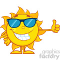 10147 smiling sun cartoon mascot character with sunglasses giving a thumbs up vector illustration isolated on white background