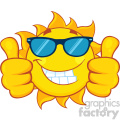 smiling sun cartoon mascot character with sunglasses giving a double thumbs up vector illustration isolated on white background gif, png, jpg, eps, svg, pdf