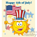 cute sun cartoon mascot character with patriotic hat holding an american flag vector illustration with background text happy 4th july