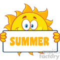 10170 cute sun cartoon mascot character holding a sign with text summer vector illustration isolated on white background