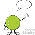 tennis ball faceless cartoon character waving with speech bubble vector illustration isolated on white background gif, png, jpg, eps, svg, pdf