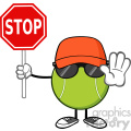 tennis ball faceless cartoon mascot character with hat and sunglasses gesturing and holding a stop sign vector illustration isolated on white background gif, png, jpg, eps, svg, pdf