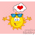 love sun cartoon mascot character with sunglasses and open arms and a heart vector illustration isolated on white background gif, png, jpg, eps, svg, pdf