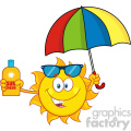 cute sun cartoon mascot character holding a umbrella and bottle of sun block cream vith text vector illustration isolated on white background
