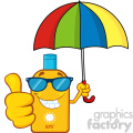 smiling bottle sunscreen cartoon mascot character with sunglasses and umbrela giving a thumbs up vector illustration isolated on white background