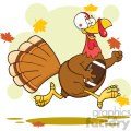 football turkey bird cartoon character running in thanksgiving super bowl vector illustration with background gif, png, jpg, eps, svg, pdf