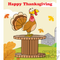 happy thanksgiving greeting with turkey bird on a giant spool in a barnyard vector illustration with background and text