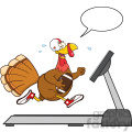 football turkey bird cartoon character running on a treadmill with speech bubble vector illustration isolated on white