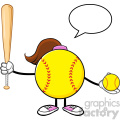 softball girl faceless cartoon mascot character holding a bat and ball with speech bubble vector illustration isolated on white background gif, png, jpg, eps, svg, pdf