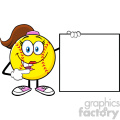 cute softball girl cartoon mascot character pointing to a blank sign vector illustration isolated on white background gif, png, jpg, eps, svg, pdf