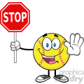 funny softball cartoon mascot character gesturing and holding a stop sign vector illustration isolated on white background gif, png, jpg, eps, svg, pdf