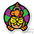 thanksgiving turkey sticker with yellow bowtie  gif, png, jpg, eps, svg, pdf