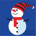 snowman with funny hat on blue square icon vector art