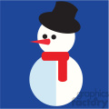 snowman with top hat on blue square icon vector art