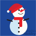 snowman with santa hat on blue square icon vector art