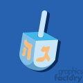 hanukkah Hebrew dreidel flat vector art on blue background