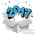 blue 2017 new year exploding from a box vector art  gif, png, jpg, eps, svg, pdf