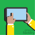 hands holding ipad surface device flat design vector art