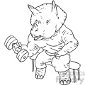 dinosaur at the gym character vector book illustration