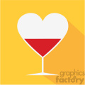 heart shaped glasses with wine vector art flat design