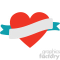 heart with ribbon vector art flat design svg cut files