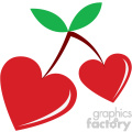 heart shaped cherries for valentines vector art flat design