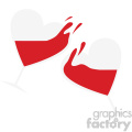 heart shaped glasses with wine cheers vector art flat design svg cut files