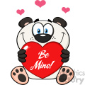 10683 Royalty Free RF Clipart Cute Panda Bear Cartoon Mascot Character Holding A Valentine Love Heart With Text Be Me Vector Illustration