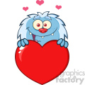 10653 Royalty Free RF Clipart Happy Little Yeti Cartoon Mascot Character Over A Valentine Love Heart Vector Illustration