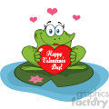 10674 Royalty Free RF Clipart Cute Frog Female Cartoon Mascot Character In A Pond Holding A Valentine Love Heart With Text Happy Valentines Day Vector Illustration