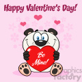 10684 royalty free clipart smiling panda bear cartoon mascot character holding a valentine love heart with text be mine greeting card with flowers background and text happy valentine day gif, png, jpg, eps, svg, pdf