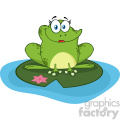10669 royalty free rf clipart smiling frog female cartoon mascot character in a pond vector illustration gif, png, jpg, eps, svg, pdf