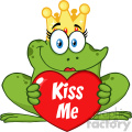 10662 royalty free rf clipart cute princess frog cartoon mascot character with crown holding a love heart with text kiss me vector illustration gif, png, jpg, eps, svg, pdf