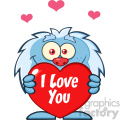 10652 Royalty Free RF Clipart Cute Little Yeti Cartoon Mascot Character Holding A Valentine Love Heart Vector With Text I love You