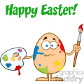 10942 Royalty Free RF Clipart Confused Egg Cartoon Mascot Character Spattered and Holding A Paintbrush And Palette Vector With Text Happy Easter