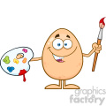 10940 Royalty Free RF Clipart Smiling Egg Cartoon Mascot Character Holding A Paintbrush And Palette Vector Illustration