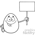 10970 royalty free rf clipart black and white talking egg cartoon mascot character holding a blank sign vector illustration gif, png, jpg, eps, svg, pdf
