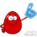 10981 Royalty Free RF Clipart Red Easter Egg Cartoon Mascot Character Wearing A Foam Finger Vector Illustration