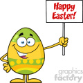 10954 Royalty Free RF Clipart Colored Easter Egg Cartoon Mascot Character Holding A Blank Sign Vector With Text Happy Easter