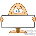 10936 Royalty Free RF Clipart Cute Egg Cartoon Mascot Character Holding A Blank Sign Vector Illustration